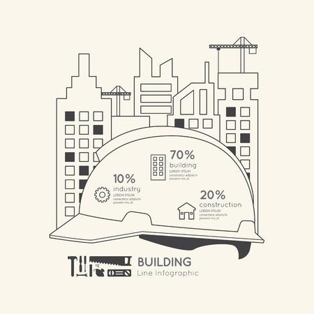 Flat linear Infographic Construction Helmet Outline Concept.Vector Illustration.