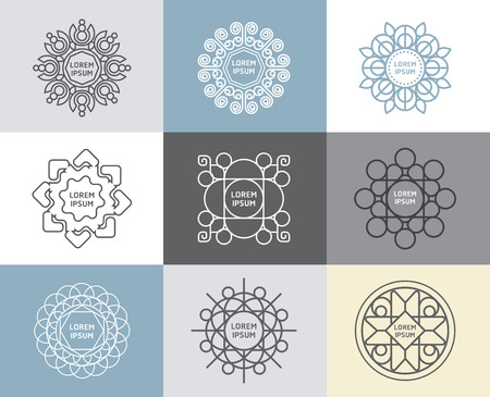Illustration pour Vector set of calligraphic,flower abstract templates concept,outline emblems and badges - image libre de droit