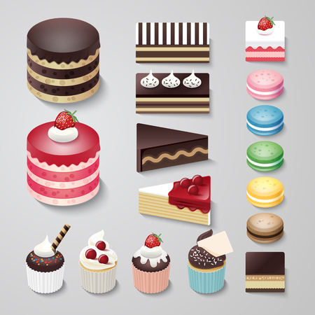 Cakes flat design dessert bakery vector set / illustration