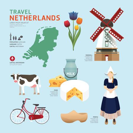 Illustration pour Netherland Flat Icons Design Travel Concept.Vector - image libre de droit