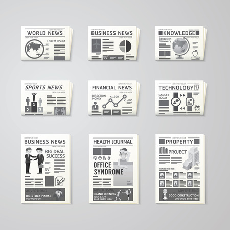 Newspaper daily flat vector set design template.business,health,education,technology and sport design.