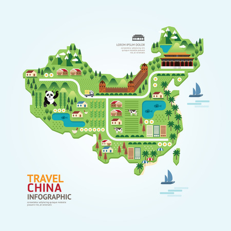 Infographic travel and landmark china map shape template design. country navigator concept vector illustration / graphic or web design layout.
