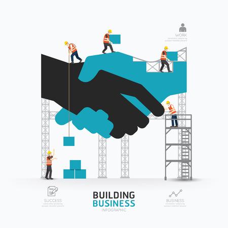 Illustration pour Infographic business handshake shape template design.building to success concept vector illustration / graphic or web design layout. - image libre de droit