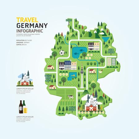 Infographic travel and landmark germany map shape template design. country navigator concept vector illustration  graphic or web design layout.