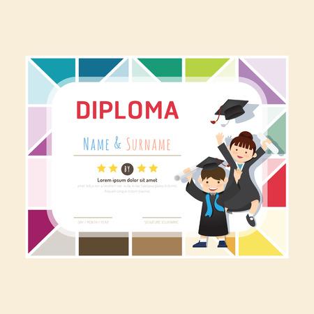 Certificate kids diploma, kindergarten template layout