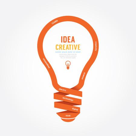 Illustration pour vector light bulb ribbon paper design creative line style. - image libre de droit