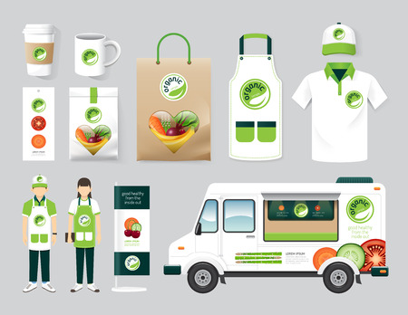 Vector organic restaurant design set street food truck health shop, flyer, menu, package, t-shirt, cap, uniform and display design layout set of corporate identity mock up template.