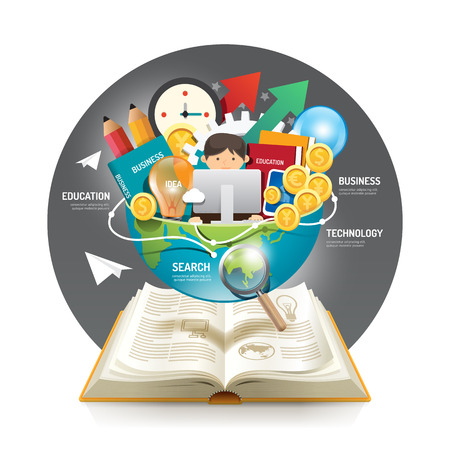 Ilustración de Open book infographic innovation idea on world vector illustration. business education concept.can be used for layout, banner and web design. - Imagen libre de derechos