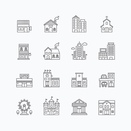 Foto de vector linear web icons set - buildings collection of flat line city design elements. - Imagen libre de derechos