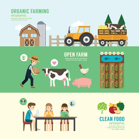 Organic Clean Foods Good Health design concept people set farming, eating, sitting, eco livestock farm in nature. with flat icons. vector illustrationのイラスト素材