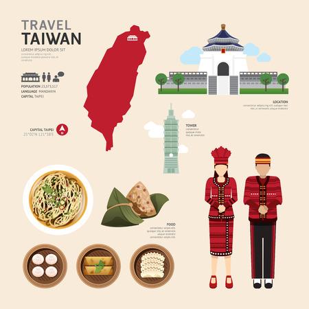 Illustration pour Taiwan Flat Icons Design Travel Concept.Vector - image libre de droit