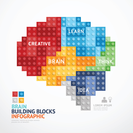 Illustration for Infographic Template with heart shape building blocks . concept illustration - Royalty Free Image