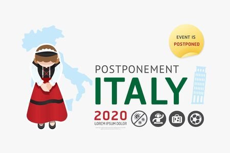 Illustration pour 2020 Italy postponement  carnival, festival, travel, game, sport, activities from virus covid warning concept . background Vector illustration. - image libre de droit