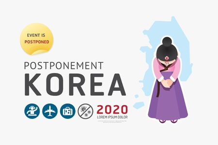 Illustration pour 2020 korea postponement  carnival, festival, travel, game, sport, activities from virus covid warning concept . background Vector illustration. - image libre de droit