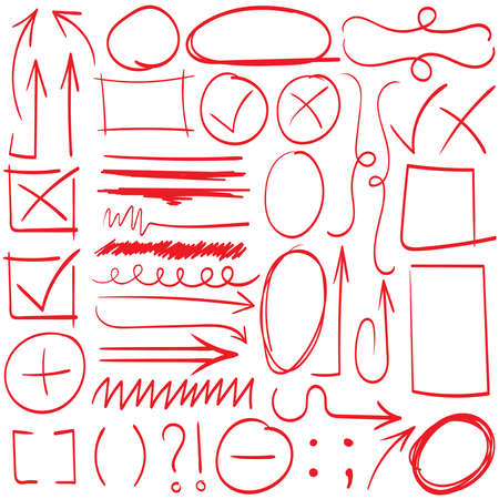 Illustration for Arrows and abstract shapes doodle writing design vector set, black - Royalty Free Image