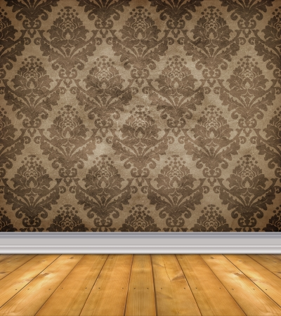Empty room with shabby damask wallpaper and bare wood floor