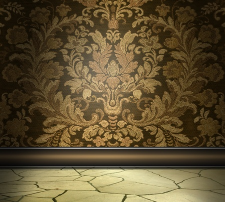 Photo pour Rich Damask Wall With Flagstone Floor - image libre de droit