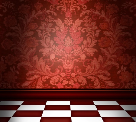 Room with red damask wallpaper and a red checkerboard floor