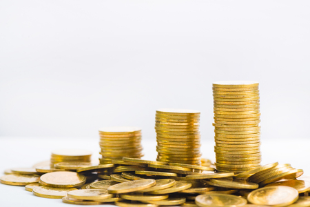 Savings Increasing Columns Of Gold Coins Piles Of Gold