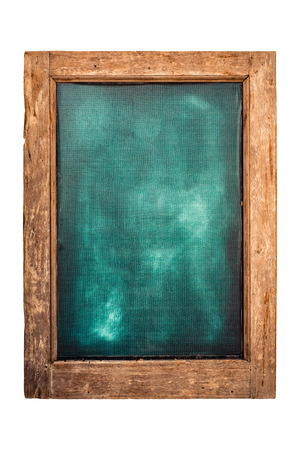 Photo pour Green menu chalkboard with wooden frame for restaurant or shop display label. isolated on white background with clipping path. - image libre de droit
