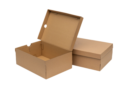 Photo for Brown cardboard shoes box with lid for shoe or sneaker product packaging mockup, isolated on white background with clipping path. - Royalty Free Image