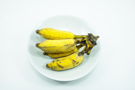 Cultivate banana, yellow banana on isolate white background