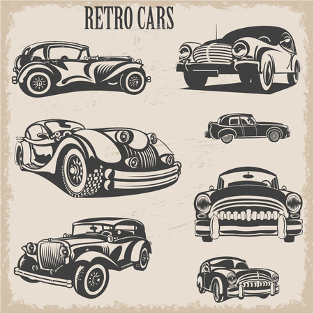 Sets of silhouette retro cars