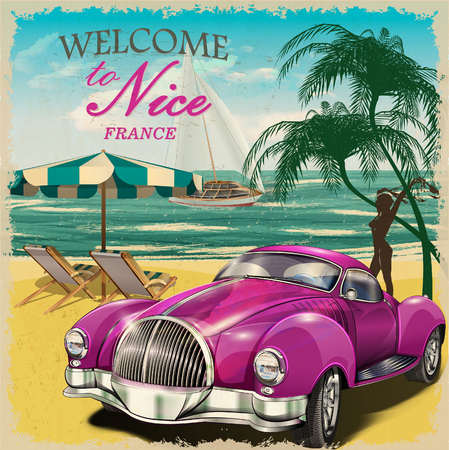 Welcome to Nice retro poster.