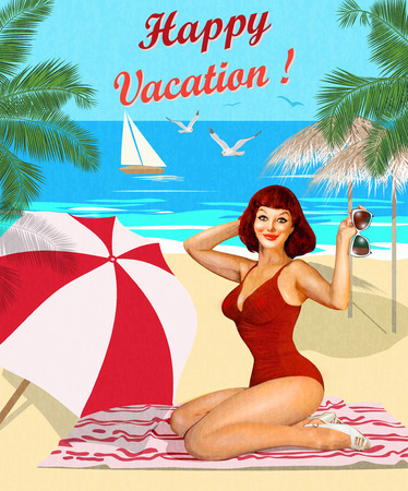Vintage vacation background with pin-up girl on the beach.