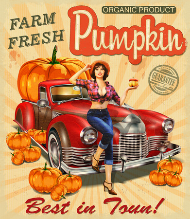 Retro poster with pin- up girl  in straw hat near Pickup truck full of pumpkinsのイラスト素材