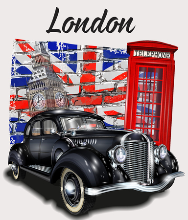 Illustration for London typography for t-shirt print with Big Ben,retro car and red phone booth. - Royalty Free Image