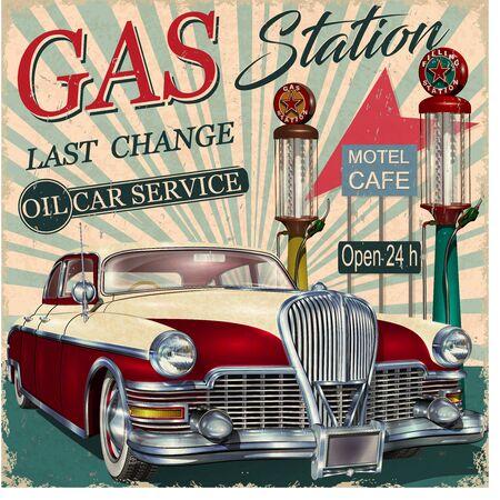 Ilustración de Gas station retro poster with vintage car. - Imagen libre de derechos