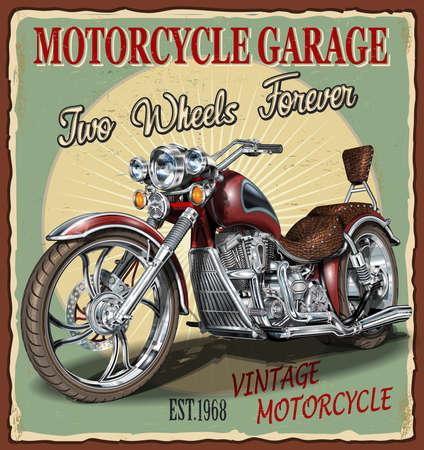 Illustration pour Vintage Garage motorcycle  poster.Vector classic motorcycles. - image libre de droit