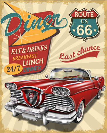 Foto für Diner route 66 vintage poster with Diner sign and retro car. - Lizenzfreies Bild