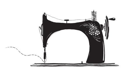Foto de Vintage Sewing Machine Inky Illustration - Imagen libre de derechos