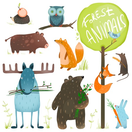Illustrazione per Cartoon Forest Animals Set. Brightly colored childish animals. - Immagini Royalty Free