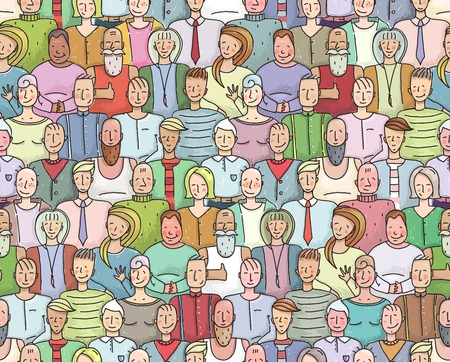 Illustrazione per Smiling People Crowd Collective Portrait Seamless Pattern. Colorful men and women throng portrait. Vector illustration EPS8. - Immagini Royalty Free