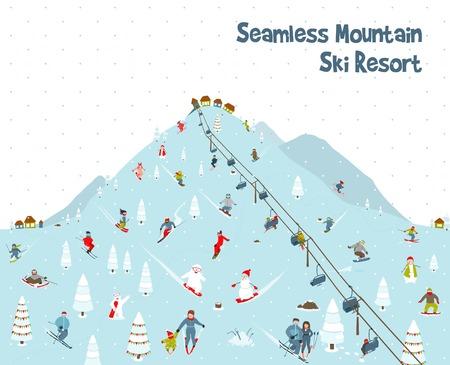 Cartoon Mountain Ski Resort Seamless Border Pattern