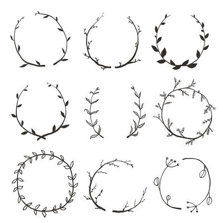 Illustration pour Rustic Laurel and Wreath Collection for Design. Hand drawn sketchy style wreath clip art set. Vector EPS10. - image libre de droit