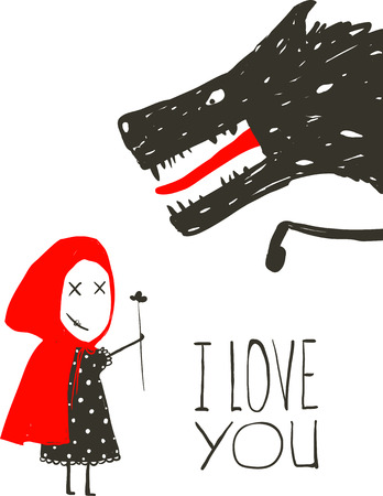 Little Red Riding Presenting Flower to Black Wolf. Little Red Riding Hood loves bad horrible wolf design. I love you lettering. Vector illustration.
