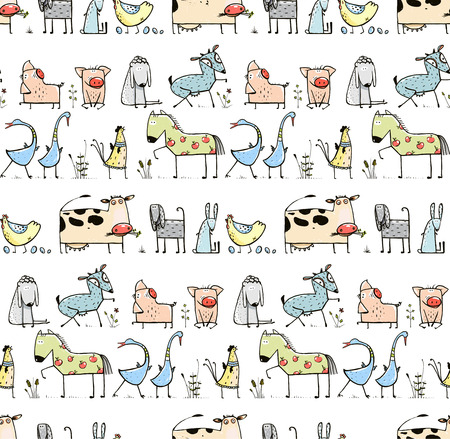 Illustration pour Funny Cartoon Village Domestic Animals Seamless Pattern Background for Kids - image libre de droit