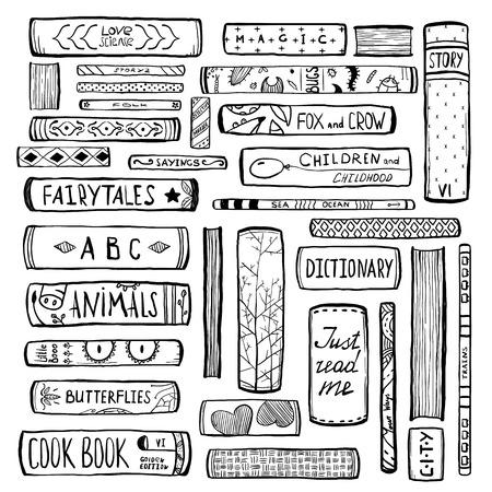 Illustration pour Books Collection Monochrome Inky Outline Illustration - image libre de droit