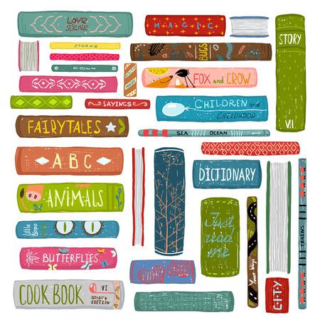 Illustration pour Colorful Books Drawing Library Collection - image libre de droit