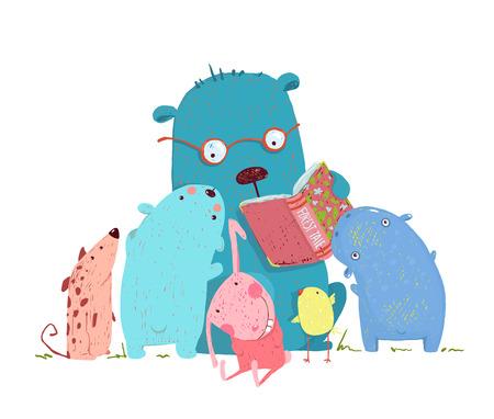Illustration pour Children education and reading. Child learning, teacher reading literature knowledge, school wisdom, illustration. - image libre de droit