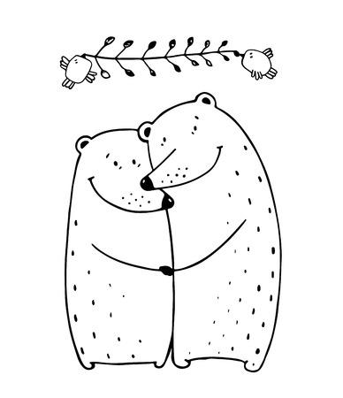 Ilustración de Lovers dating happy hugging romantic teddy valentine, vector illustration transparent background. - Imagen libre de derechos