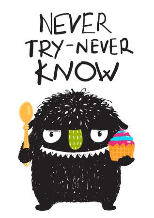 Fun Monster Eating Dessert Cartoon Card Angry Funny Little Monster