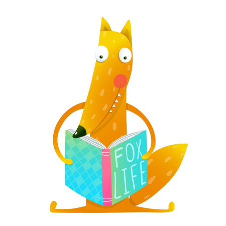 Vektor für Cute funny cartoon fox reading book. Cute red fox sitting and reading book - Fox life. Wildlife brightly colored hand drawn watercolor style picture on white background. Vector illustration. - Lizenzfreies Bild