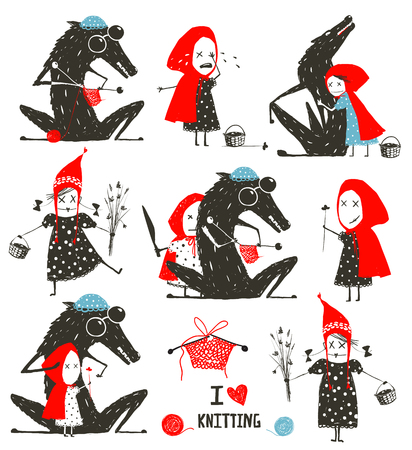 Illustration for Little Red Riding Hood and Wolf Fairytale Collection - Royalty Free Image