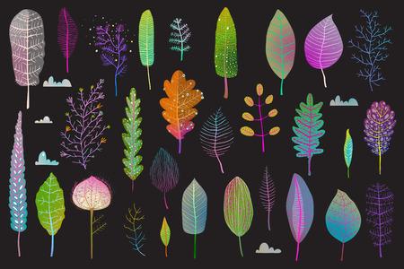 Illustration pour Leaf flowers clipart set isolated on dark illustration. - image libre de droit