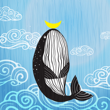 Ilustración de Cute Whale moon and ocean print design. Vector illustration. - Imagen libre de derechos